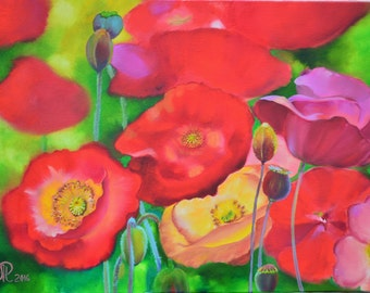 Flowers painting , red poppy art , canvas painting , poppies , original painting , oil painting