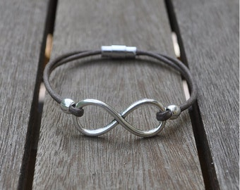 Infinity symbol bracelet and cotton lace
