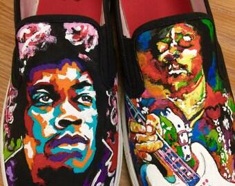 Custom painted shoes of Jimi Hendrix.