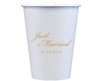 Just Married Personalized Paper Cups | Coffee Bar | Hot Chocolate Bar