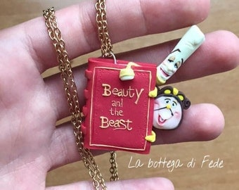 Beauty and the Beast Cogsworth and Lumiere necklace polymer clay with booklet
