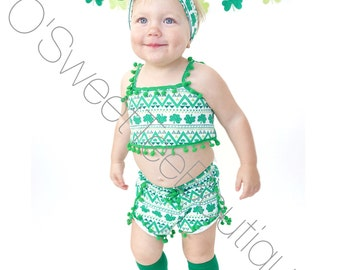 St.Patricks Day Outfit/ Baby St.Patricks Day/ Lucky/ Four Leaf Clover/ Happy St.Pattys Day/ Girls Clover