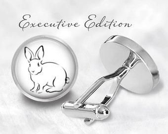Bunny Art Cufflinks - Rabbit Cuff Links - Easter Cufflinks - Gift for Him (Pair) Lifetime Guarantee (S0151)