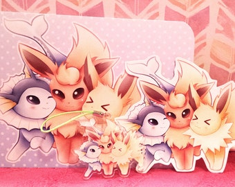 Eeveelution Trio Mini Set w/Acrylic Charm, Sticker & Print