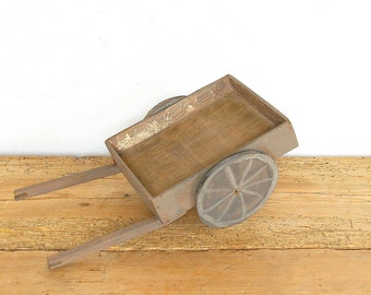 Vintage wooden primitive toy wagon.Folk art hand made.Toy farm trailer.Pull toy.Nursery decor.Vintage wood toy.Home decor.Photo prop