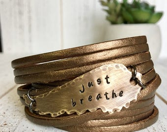 Just Breathe, Leather Wrap Bracelet, Shredded, Personalized, Create Hope Cuffs Gift for Her, bronze wing, double wrap bracelet, adjustable