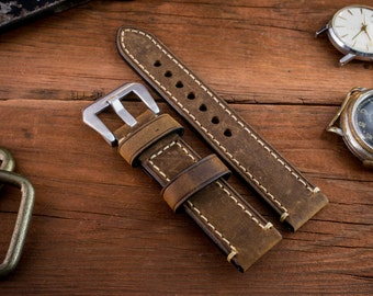 Brown crazy horse genuine leather watch strap (20mm) + watch pins & tubes, watch strap, watch band, wrist band