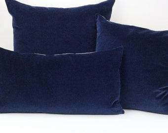 Dark Blue Hand Made Velvet Cushions Cover with Natural Linen back