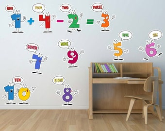 1 10 Numbers Kids Wall Decal, Classroom Decor, Nursery Art, Children  Playroom