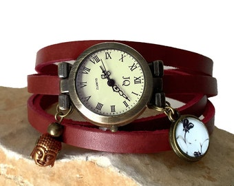 Asia Buddha theme watch, ladies watch, leather wrap, red leather, zen, casual