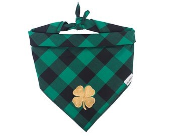 St Patrick's Day Dog Bandana, Buffalo Plaid Dog Bandana, Shamrock Bandana, Dog Collar, Dog Scarf, Dog Bandanas, Dog Clothes, Scarf For Dog