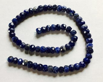 "Sodalite Bead Strand, Natural Sodalite, Faceted Sodalite Beads, Genuine Gemstones, 8mm x 6mm Beads,Flattened Sides,15""Strand,Appr 65 Beads"