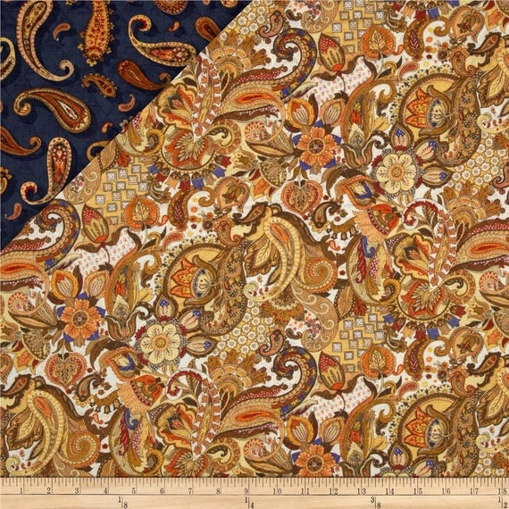 Royal Paisley Double Faced Quilted Fabri-Quilt Fabric by the Yard ... : double faced quilt fabric - Adamdwight.com