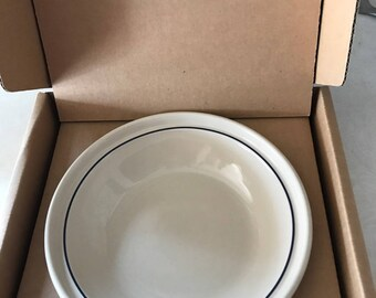 Longaberger Small Pie Plate Blue Pottery Dish Bowl