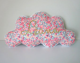 Liberty wiltshire sweet pea customizable name cloud pillow