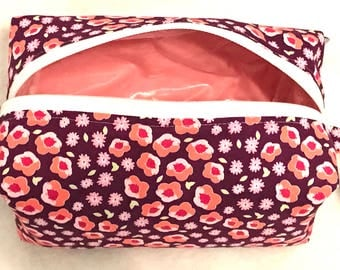 Blooms- Cosmetic Bag, Makeup Bag, Travel Bag, Box Pouch
