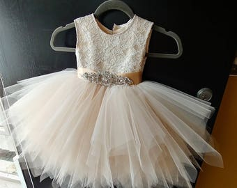 """Ivory lace, champagne satin and  tulle skirt flower girl dress """"Lilly"""" with  rhinestone and beige sash"""