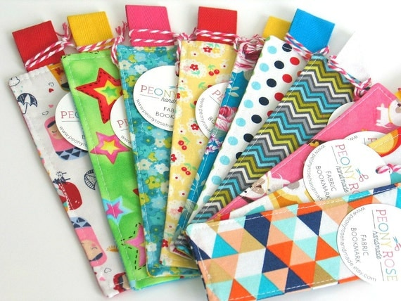10 x fabric bookmarks handmade bookmarks book themed for Baby themed fabric