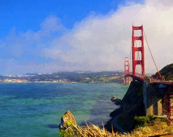 Golden Gate Bridge Over San Francisco Bay Impressionist Fine Art Giclee Print, Modern Digital Wall Art, Iconic San Francisco Scenery