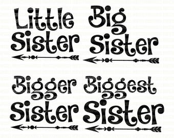 Little Sister Big Sister SVG File DXF EPS png Cutting File Silhouette Studio Designer Edition Cricut Design Space Printable Clipart Stencil