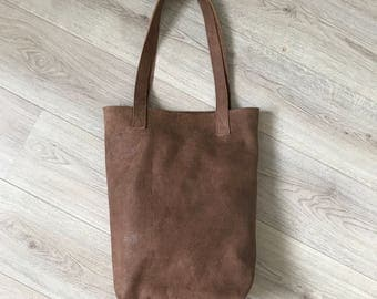 Simple brown leather tote bag