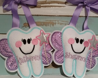 Personalized Tooth Fairy Pillow with Wand~Girls Tooth Fairy Pillow~Tooth Fairy Pillow~Gift~Sparkly