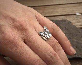 FRENCH BULLDOG Ring • Bulldog Jewelry • Dog Paw Ring • Paw Print Ring  • Dog Ring • Silver Ring • Bulldog Jewelry