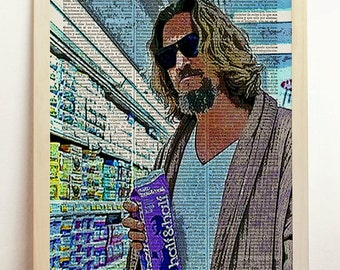 The Big Lebowski Print Coen Brothers Movie Dude Poster Film Mixed Retro Gift Vintage Art Upcycled Decor Book Dictionary