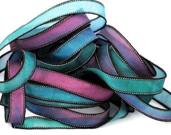 Ruban de soie habotai lisse Handgeverfd soie Satin-achat en ligne bracelet-seidenband-ruban de soie-violet-vert-bleu # 218