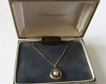 Vintage 14k Gold Overlay Krementz Pearl Necklace Goldplate In Jeweler's Box With Paperwork Mid-Century Pendant