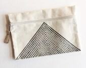 Arrow Zipper Pouch | hand pressed block print textile, canvas fabric, accessory, bohemian print