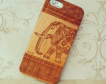 Laser Engraved Mayan Aztec Tribal Elephant Henna for iPhone 5/S, 6/S and 6 plus IP-066