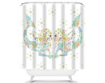 Mermaid Shower Curtain, White Shower Curtains Girls Bathroom Decor, Mermaid  Bathroom White Bathroom Curtain