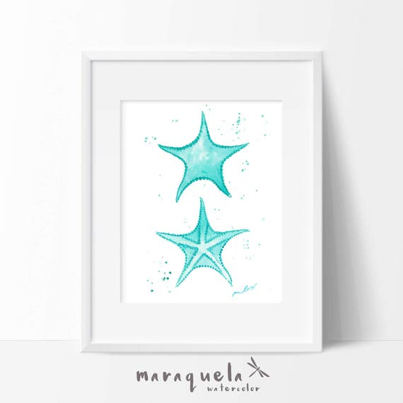 STARFISH illustration in Watercolor,home decor. Decoration ideas bath, beach, sea, homedecor, marine life, gift , light blue colors wall art