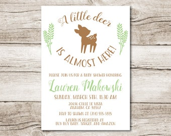 """A Little Deer is almost here - Baby Shower Invitation - 5"""" x 7"""" - Digital File"""