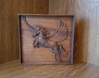 American Black Walnut Wooden 3D Engraving Relief PEGASUS Mythical Unicorn Creature Art Picture Mythology Flying Horse Wall art Framed