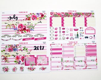 July Summer Floral Monthly View Planner Stickers for Erin Condren Life Planner (K37G)