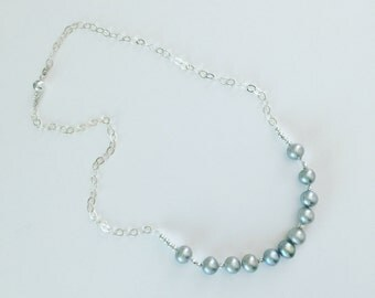 N0092 Gray Pearl Chain Necklace