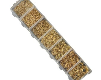 1780pcs - 3mm to 9mm Gold Plated Open Jump Rings in Translucent Organizer