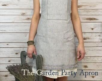 Woman's Apron, Linen, Gardening, Linen Apron, Cross back Apron, Apron for Woman, Garden Apron, Vintage Apron, Gardening Apron, Linen Apron