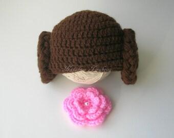 Crochet Princess Leia Hat/Star Wars hat/Crochet Princess Leia hat/Baby/Newborn Photo Prop/Starwars Baby Girl/Star Wars/Halloween Hat