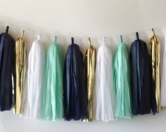 Navy & Mint Tassel Garland