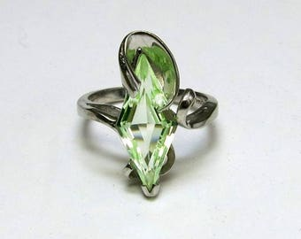 "art deco peridot engagement ring unusual cut in 10k white gold entitled "" spring """