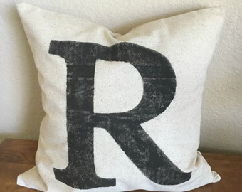 BEST SELLER | Initial Pillow | Rustic Pillow Cover | Farmhouse Pillow | Multiple Sizes Available | Pillow Cover | Made To Order