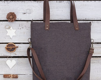 FREE SHIPPING***Brown Handbag, Leather Straps,Shoulder Bag,Foldover, Convertible, Canvas, Fabric