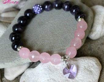 Amethyst Bracelet, Rose Quartz Bracelet, 12mm Amethyst Bracelet, 12mm Rose Quartz Bracelet, Chakra Bracelet, Pink Purple Bracelet, Amethyst