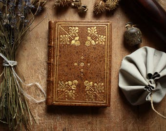 Fourth Small Treasure Journal - A Little Handmade Leather Journal Bound in Goat Leather Tooled with Gold