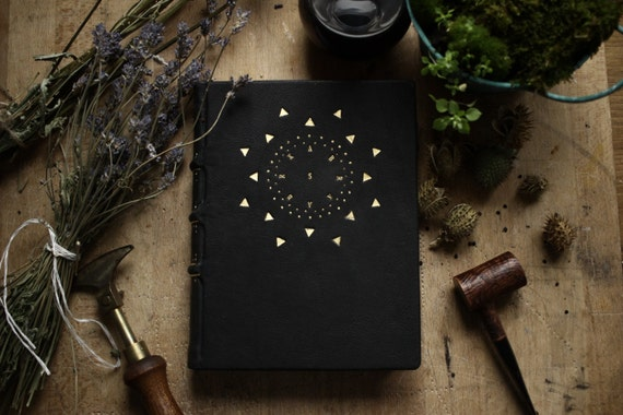 Black Book of Abraxas - A Large Handmade Leather Journal, Bound in Black Calf with Gold Tooling