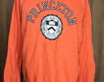 70s Rare Vintage Champion Blue Bar Princeton Sweatshirt Polyester Cotton 50/50