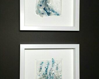 Tide and Trail ~ Midnight Ocean Glass Art Diptych Wall Sea Glass Art Sculpture Breaking Wave Contemporary Modern Beach Fine Art May Waynorth